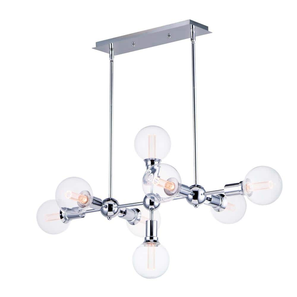 Maxim Lighting Molecule 8 Light Polished Chrome Pendant 11348pc Bul G40 Cl The Home Depot