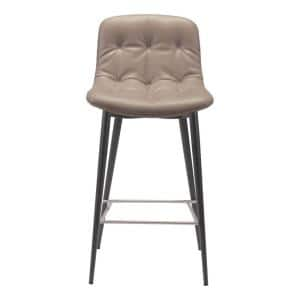 Julia 2-Piece Taupe Leatherette Stainless Steel Counter Chair
