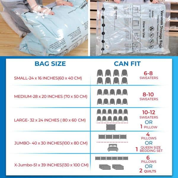 Bizroma Combo Vacuum Storage Bags For Clothes Travel Moving 15 Pack Sbcb015 The Home Depot