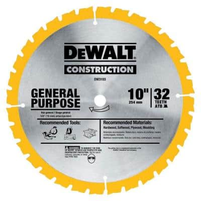 Construction 10 in. 32-Teeth Saw Blade
