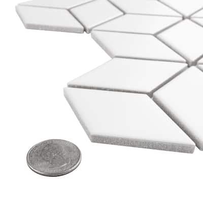Metro Rhombus Matte White 10-1/2 in. x 12-1/8 in. x 5 mm Porcelain Mosaic Tile (9.04 sq. ft. / case)