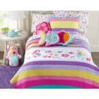 Floral Mermaid Striped Rainbow Fish Polka Dot 3-Piece Embroidered Patchwork Pink Purple Cotton Queen Quilt Bedding Set