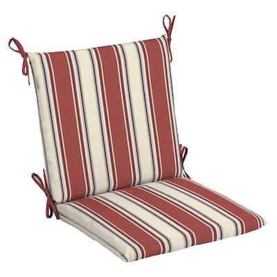 20 in. x 20 in. Chili Herringbone Stripe Outdoor Mid Back Chair Cushion (2-Pack)