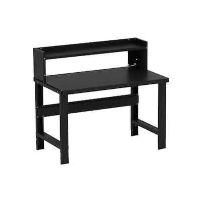 48 in. W x 36 in. H x 28 in. D Black Painted Steel Heavy-Duty Adjustable Ledge Shelf Workbench