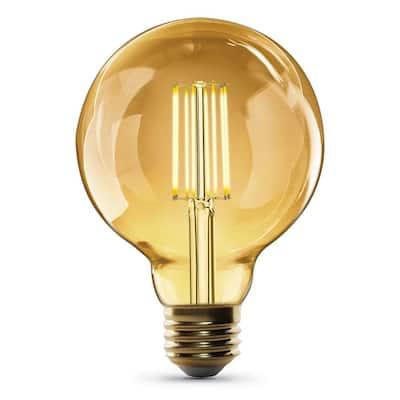 60-Watt Equivalent G30 Dimmable Cage Filament Amber Glass E26 Vintage Edison LED Light Bulb, Warm White