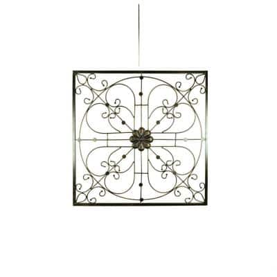 Bronze Iron with Flower Accent and Squared Framed Design Wall Decor (Assortment of 2)