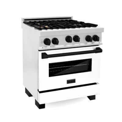 Autograph Edition 30 in. 4.0 cu. ft. Gas Stove and Gas Oven in DuraSnow with White Matte Door and Matte Black Accents