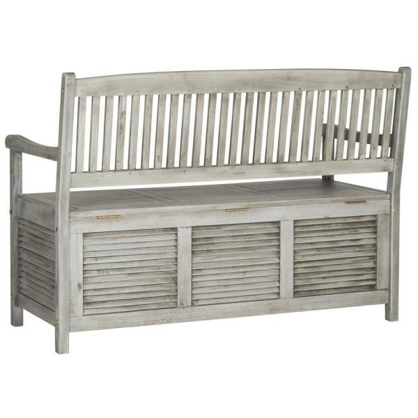 Safavieh Brisbane 50 In 2 Person Grey Acacia Wood Outdoor Bench Pat7017a The Home Depot