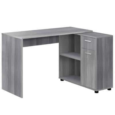46 in. L-Shaped Gray 1 Drawer Computer Desk with Built-In Storage