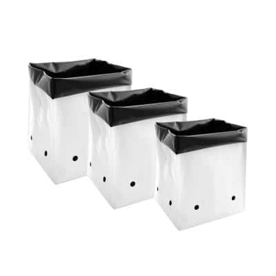 3 Gal., 5 Gal., 7 Gal. Variety Size Black and White PE Plastic Grow Bag Set (5-Pack per Size)