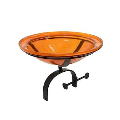 12.5 in. Dia Mandarin Orange Reflective Crackle Glass Birdbath Bowl with Over Rail Bracket