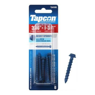 3/16 in. x 1-3/4 in. Hex-Washer-Head Concrete Anchors (8-Pack)