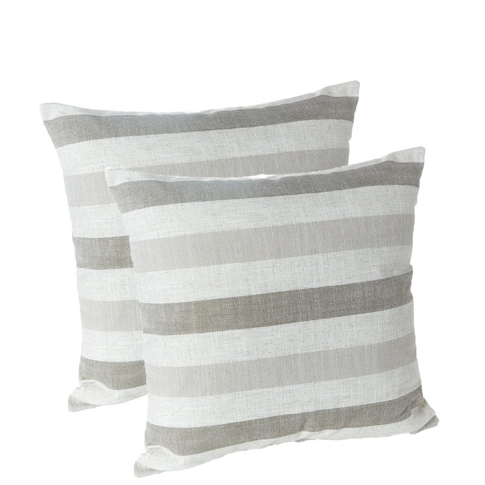 liza taupe striped 18 in x 18 in throw pillow set of 2 218434 24a the home depot