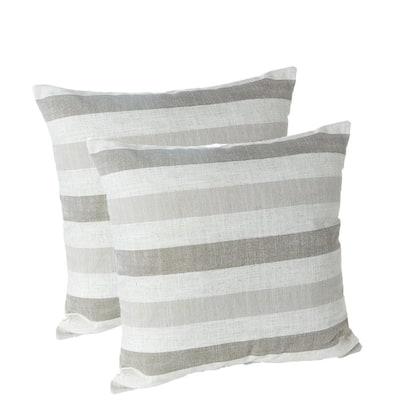 """Liza Stripe 18"""" x 18"""" Decorative Throw Pillows, Set of 2"""