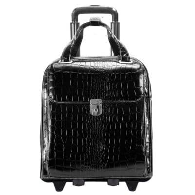 Siamod Novembre Embossed Crocco Leather 15 in. Detachable -Wheeled Laptop Briefcase Black (35325)