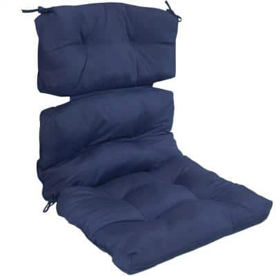 23 in. x 13 in. Tufted High Back Olefin Outdoor Patio Chair Cushion in Blue