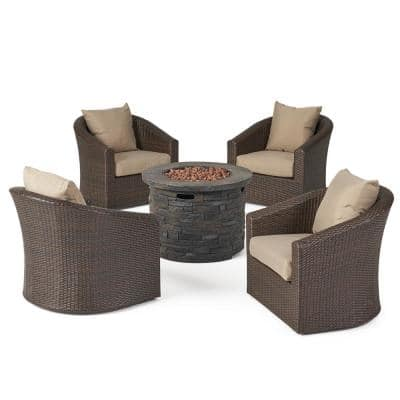 Glenwood Mixed Brown 3-Piece Faux Wicker Patio Fire Pit Seating Set with Mixed Khaki Cushions