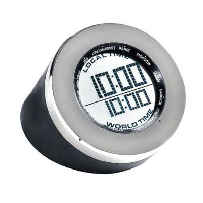 Silver World Time Multi-Function Clock