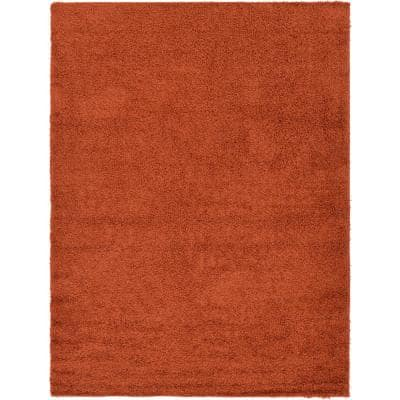 Solid Shag Terracotta 8 ft. x 11 ft. Area Rug