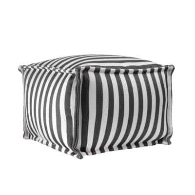 Porto Striped Indoor/Outdoor Filled Ottoman Gray Square Pouf