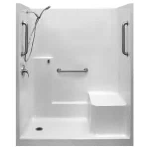 Classic-SA 33 in. x 60 in. x 77 in. 1-Piece Low Threshold Shower Stall in White, Shower Kit, Molded Seat, Left Drain