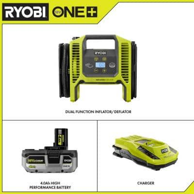 ONE+ 18V Cordless Dual Function Inflator/Deflator with HIGH PERFORMANCE 4.0 Ah Battery and Charger Kit