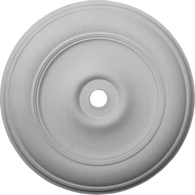 """44-1/2"""" x 4"""" ID x 4"""" Classic Urethane Ceiling Medallion (Fits Canopies up to 8-1/4""""), Primed White"""