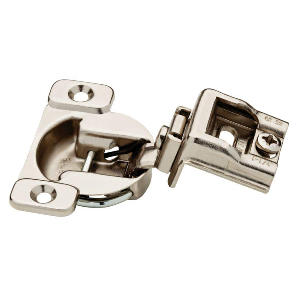 2 Pack Self Closing Cabinet Door Hinges Satin Nickel 1-1//4 Partial Overlay Hardware Hinges 105 Degree Opening Angel with Mounting Screws for Kitchen Bathroom by Ouioui