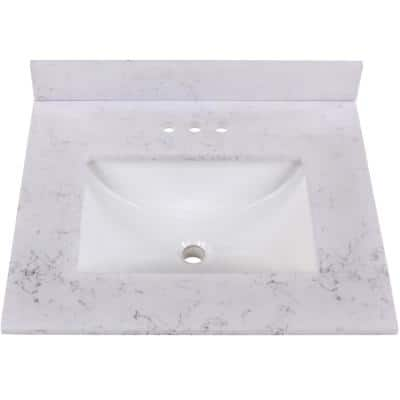 25 in. Stone Effect Vanity Top in Pulsar with White Sink