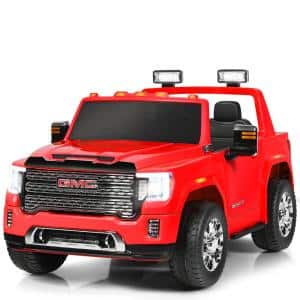 11.5 in. Suitable 3 Plus Kids 12-Volt 2-Seater Licensed GMC Ride on Car Red