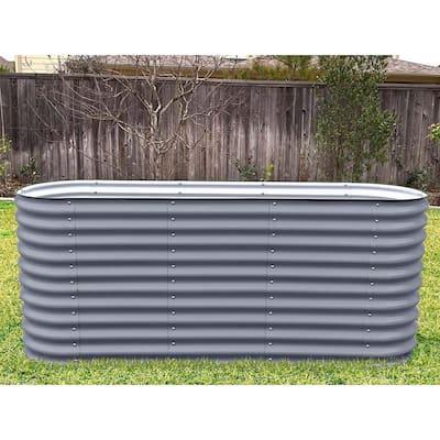 32 in. Extra-Tall 6-In-1 Modular Modern Gray Metal Raised Garden Bed Kit