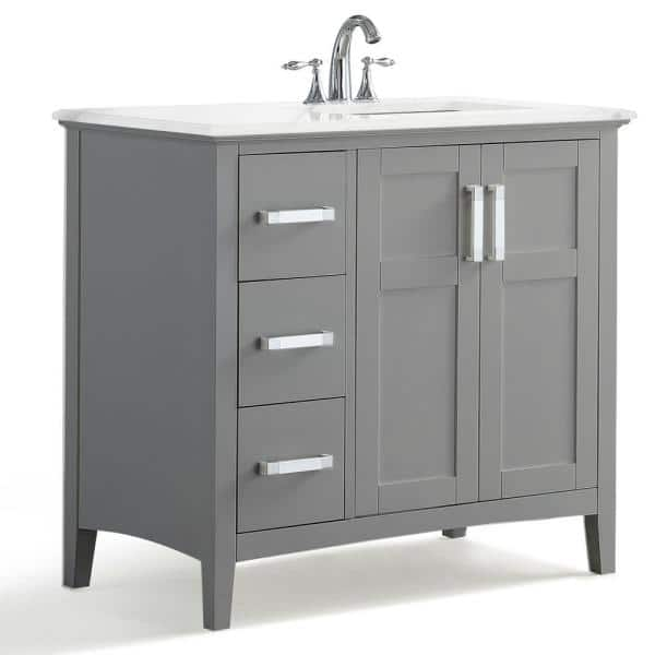 Simpli Home Winston 36 In Right Offset Bath Vanity In Warm Grey With Marble Extra Thick Vanity Top In Bombay White With White Basin Winstonwg 36 R The Home Depot