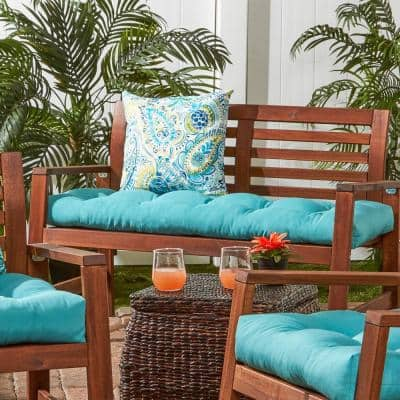 Solid Teal Rectangle Outdoor Bench Cushion