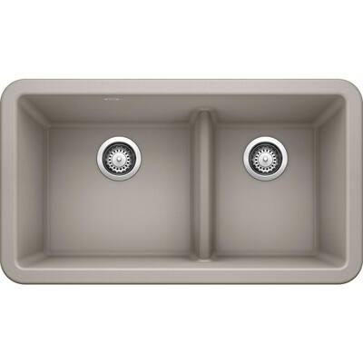 Ikon Concrete Gray Granite 33 in. Double Bowl Farmhouse Apron Kitchen Sink