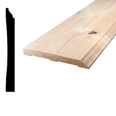 9/16 in. x 5-1/4 in. x 96 in. Knotty Alder Wood Baseboard Moulding