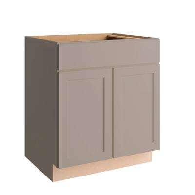 Courtland Shaker Assembled 30 in. x 34.5 in. x 24 in. Stock Base Kitchen Cabinet in Sterling Gray Finish