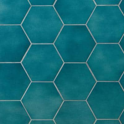 Appaloosa Carribean Blue Hexagon 7 in. x 8 in. Porcelain Floor and Wall Tile (10.76 sq. ft./Case)