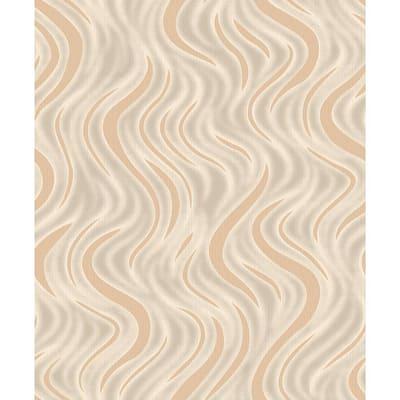 Roxie Orange Wave Grey Wallpaper Sample
