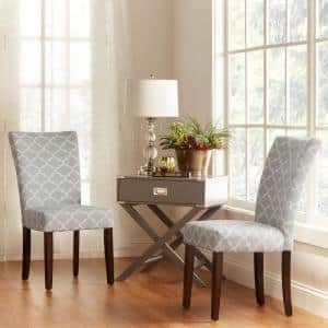 Espresso Frost Grey Pattern Fabric Parson Chair (Set of 2)
