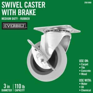 3 in. Swivel with Brake Non-Marking Rubber Caster