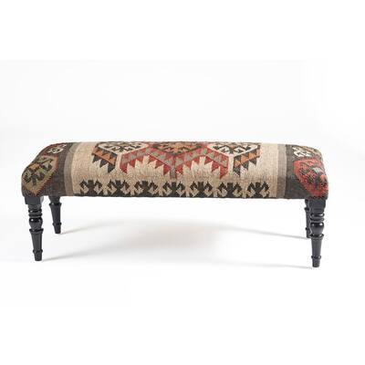 Bohemian Vanity Red/Beige Indoor Upholstered Bench