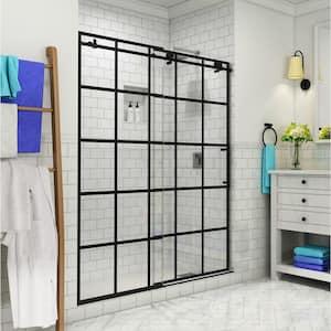 Kamaya 56 - 60 in. x 76 in. Completely Frameless Sliding Shower Door in Matte Black, Right Opening