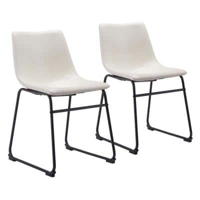 Smart Distressed White, Black Polyurethane Dining Side Chair Set of 2