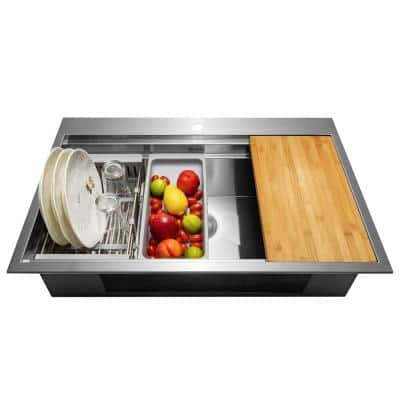 Handcrafted All-in-One Drop-In 33 in. x 22 in. x 9 in. Single Bowl Kitchen Sink in Stainless Steel with Accessories