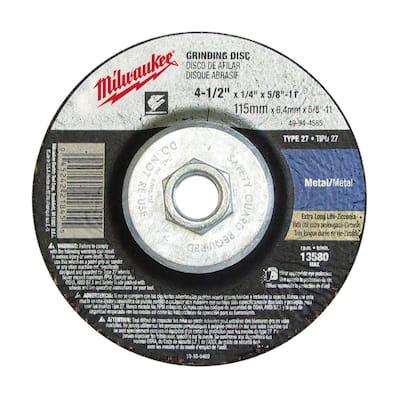 4-1/2 in. x 1/8 in. x 5/8-11 in. Grinding Wheel (Type 27)