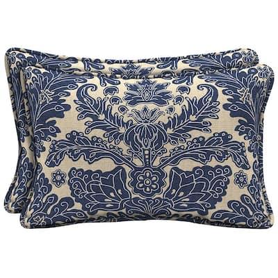 Chelsea Damask Lumbar Outdoor Pillow (2-Pack)