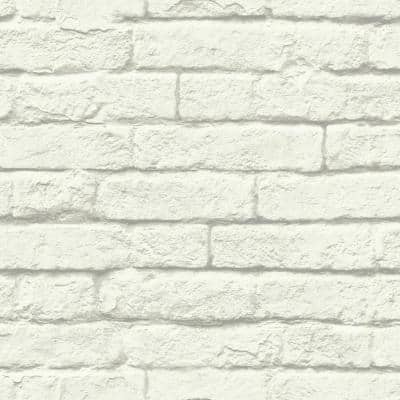 Brick And Mortar White And Gray Paper Strippable Wallpaper Roll (Covers 56 Sq. Ft.)