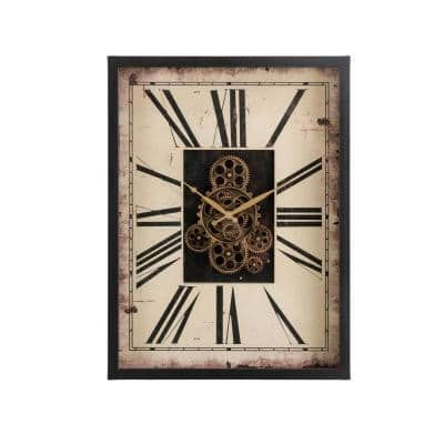 23.75 in. H Vintage Rectangle Gear Clock with Tempered Glass