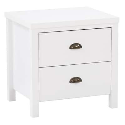Boston 2-Drawer White Nightstand