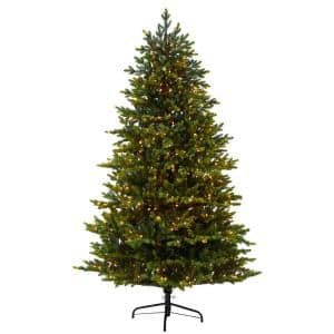 7 ft. North Carolina Fir Artificial Christmas Tree with 550 Clear Lights and 3703 Bendable Branches